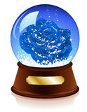 Christmas sphere with blue rose inside Stock Photography