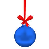 Christmas sphere. Blue Christmas sphere with tape and bow on white Royalty Free Stock Photography