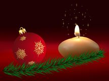 Christmas sphere and candle Royalty Free Stock Photo