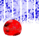Christmas sphere. Holiday illustration with red Christmas sphere on a blue background Vector Illustration