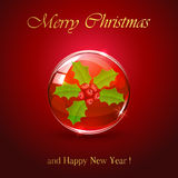 Christmas sphere with holly berry Stock Images