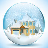 Christmas sphere with house Stock Photography