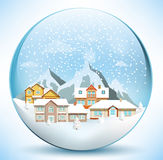 Christmas sphere with houses Royalty Free Stock Images