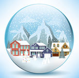 Christmas sphere with houses Stock Photo