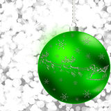 Christmas sphere. Christmas illustration with  green ball,snowflakes. Christmas Greeting Card 2015.Bright winter background with beautiful  toy ball Stock Illustration