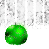 Christmas sphere. Christmas illustration with  green ball,snowflakes. Christmas Greeting Card 2015.Bright winter background with beautiful  toy ball Royalty Free Illustration