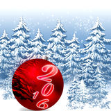 Christmas sphere 2016. Christmas illustration with  red ball,snowflakes,serpentine,. Christmas Greeting Card 2016.Bright winter background with beautiful  toy Royalty Free Stock Image