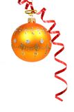 Christmas sphere of orange color and red streamer 2. Christmas sphere of orange color and red streamer Royalty Free Stock Images