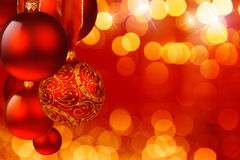 Christmas spheres. And fires of garlands Royalty Free Stock Image
