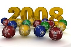 Christmas spheres on a background 2008. 3D image Stock Images