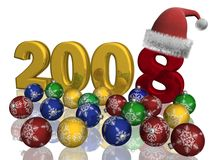 Christmas spheres on a background 2008. 3D image Royalty Free Stock Photo