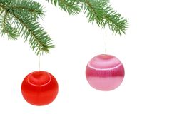 Christmas spheres on a fur-tree Stock Photo