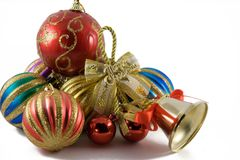 Christmas spheres in a tinsel. On a white background royalty free stock image