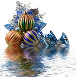 Christmas spheres in a tinsel. On a white background stock images