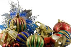 Christmas spheres in a tinsel. On a white background royalty free stock photo