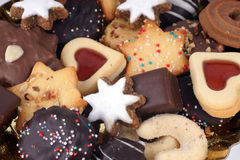 Christmas Spice Cakes. Detail of delicious Christmas cookies with chocolate Stock Photography