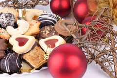 Christmas Spice Cakes. Detail of delicious Christmas cookies with chocolate and decoration Stock Photos
