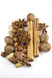 Christmas spicery. Several sorts of nuts and spice stock images