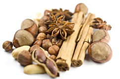 Christmas spicery. Several sorts of nuts and spice royalty free stock image
