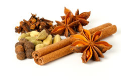Christmas spices. In a white mortar Royalty Free Stock Photo