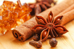 Christmas spices. Close up of spices and brown candy sugar for christmas food Stock Photography