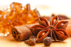 Christmas spices. Close up of spices and brown candy sugar for christmas food Stock Photos