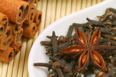 Christmas spices - anise cinnamon and cloves Royalty Free Stock Images