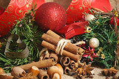 Christmas spices background stock photo