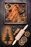 Christmas spices for baking and decoration. Royalty Free Stock Image