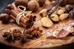Christmas spices and baking ingredients Stock Photography