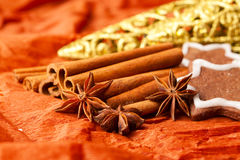 Christmas spices and biscuits Royalty Free Stock Photography