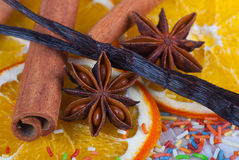 Christmas spices. Cinnamon sticks, anise stars, vanilla and dried orange slices Royalty Free Stock Photography