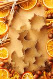 Christmas spices and cookie cutters Stock Photography
