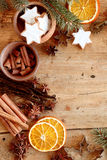 Christmas spices and cookies in a festive frame Stock Photo