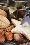 Christmas spices, cookies, nuts Stock Photography
