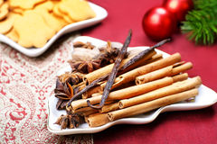 Christmas spices and cookies. Still life. Royalty Free Stock Images