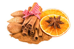 Christmas Spices Decoration with Cinnamon Orange Slices Anise Stock Photo