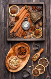 Christmas spices and decoration. Royalty Free Stock Image