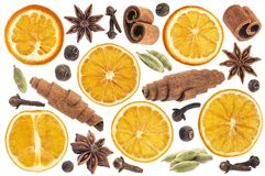 Christmas spices for decoration. Ingredients for mulled wine isolated on white background. Collection Royalty Free Stock Photography