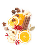 Christmas spices and dried orange sliceson Stock Photos