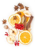 Christmas spices and dried orange sliceson Royalty Free Stock Image