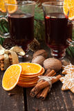 Christmas spices, gingerbread and mulled wine Stock Photos