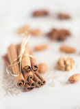 Christmas spices and nus Stock Photos