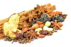 Christmas Spices, Nuts And Dried Fruits Stock Photography
