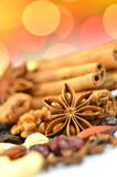 Christmas Spices, Nuts And Dried Fruits Stock Photo