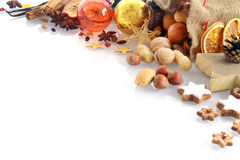 Christmas spices and nuts border Stock Images