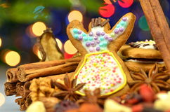 Christmas spices, nuts, cookies and dried fruits Royalty Free Stock Images