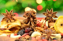 Christmas spices, nuts and dried fruits Stock Images