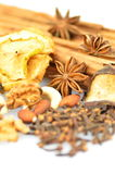 Christmas spices, nuts and dried fruits Royalty Free Stock Photo