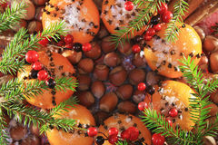 Christmas spices and nuts stock photo